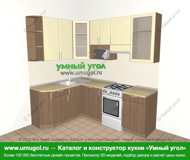 Угловая кухня МДФ матовый 5,5 м², 1600 на 2200 мм (зеркальный проект), Ваниль / Лиственница бронзовая: верхние модули 920 мм, посудомоечная машина, корзина-бутылочница, отдельно стоящая плита, модуль под свч
