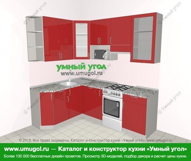 Угловая кухня МДФ глянец 5,5 м², 1600 на 2200 мм (зеркальный проект), Красный: верхние модули 920 мм, посудомоечная машина, корзина-бутылочница, отдельно стоящая плита, модуль под свч
