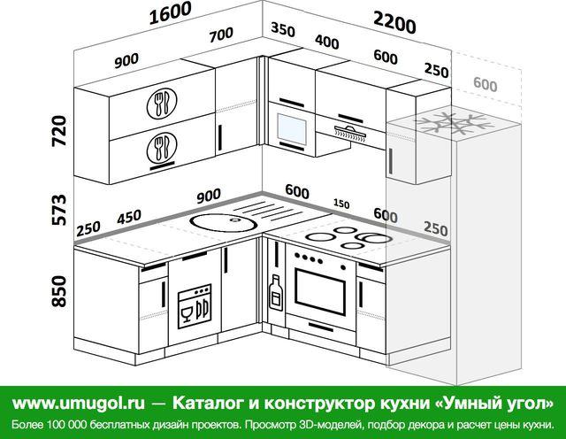 Планировка угловой кухни 5,5 м², 160 на 220 см (зеркальный проект)