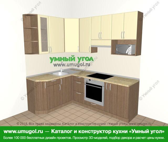 Угловая кухня МДФ матовый 5,5 м², 1600 на 2200 мм (зеркальный проект), Ваниль / Лиственница бронзовая: верхние модули 920 мм, встроенный духовой шкаф, корзина-бутылочница, модуль под свч
