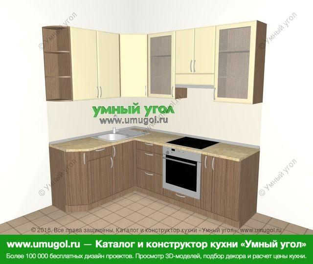 Угловая кухня МДФ матовый 5,5 м², 1600 на 2200 мм (зеркальный проект), Ваниль / Лиственница бронзовая: верхние модули 920 мм, встроенный духовой шкаф, корзина-бутылочница