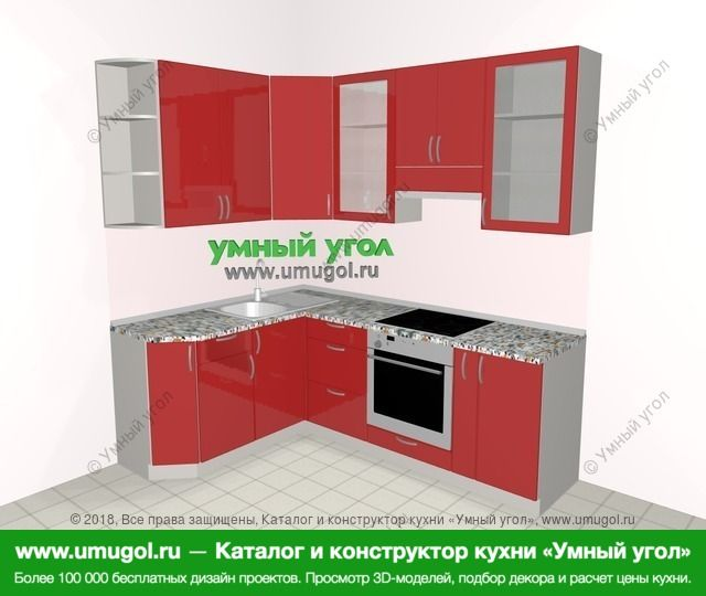 Угловая кухня МДФ глянец 5,5 м², 1600 на 2200 мм (зеркальный проект), Красный: верхние модули 920 мм, встроенный духовой шкаф, корзина-бутылочница