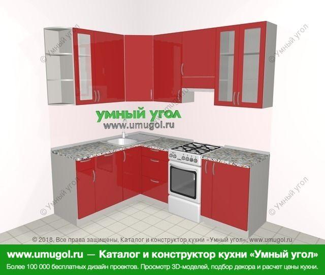 Угловая кухня МДФ глянец 5,5 м², 1600 на 2200 мм (зеркальный проект), Красный: верхние модули 920 мм, посудомоечная машина, отдельно стоящая плита, корзина-бутылочница