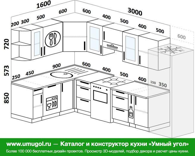 Планировка угловой кухни 7,5 м², 160 на 300 см (зеркальный проект)
