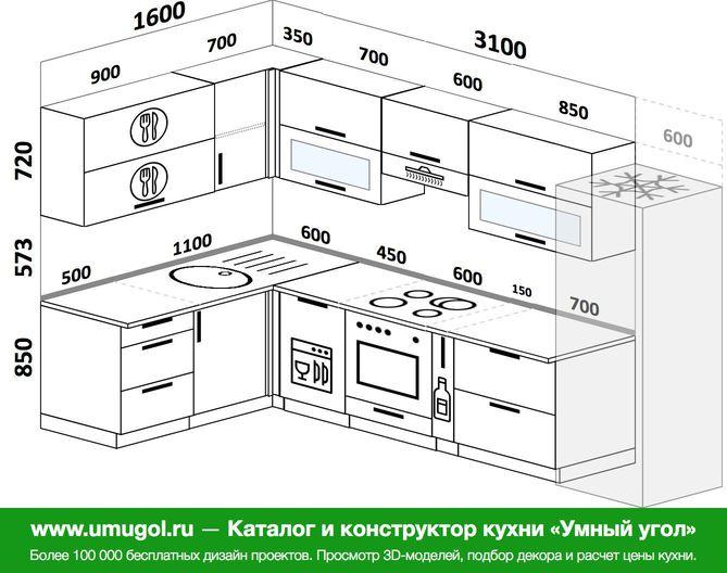 Планировка угловой кухни 7,7 м², 1600 на 3100 мм (зеркальный проект)