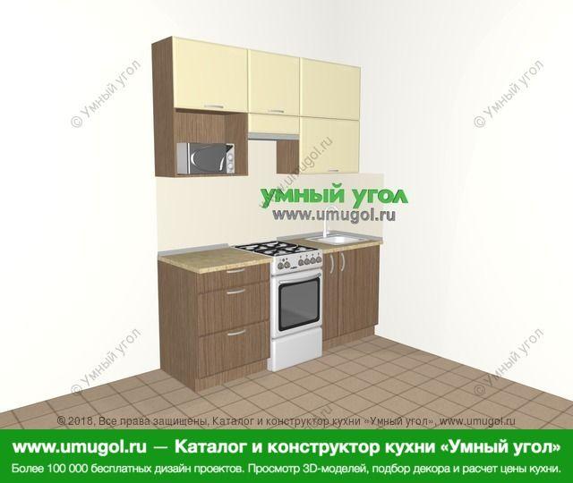 Прямая кухня МДФ матовый 5,0 м², 1800 мм, Ваниль / Лиственница бронзовая: верхние модули 920 мм, отдельно стоящая плита, корзина-бутылочница, верхний витринный модуль под свч