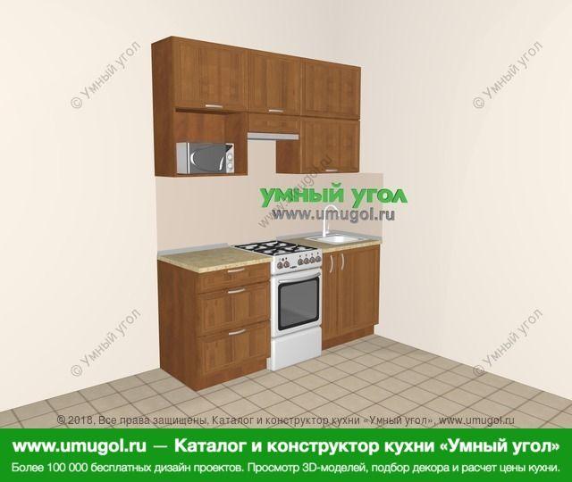 Прямая кухня из рамочного МДФ 5,0 м², 1800 мм, Орех: верхние модули 920 мм, отдельно стоящая плита, корзина-бутылочница, верхний витринный модуль под свч