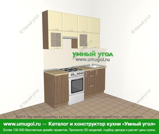 Прямая кухня МДФ матовый 5,0 м², 1800 мм, Ваниль / Лиственница бронзовая: верхние модули 920 мм, отдельно стоящая плита, корзина-бутылочница