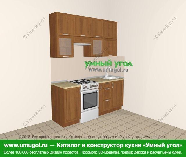 Прямая кухня из рамочного МДФ 5,0 м², 1800 мм, Орех: верхние модули 920 мм, отдельно стоящая плита, корзина-бутылочница