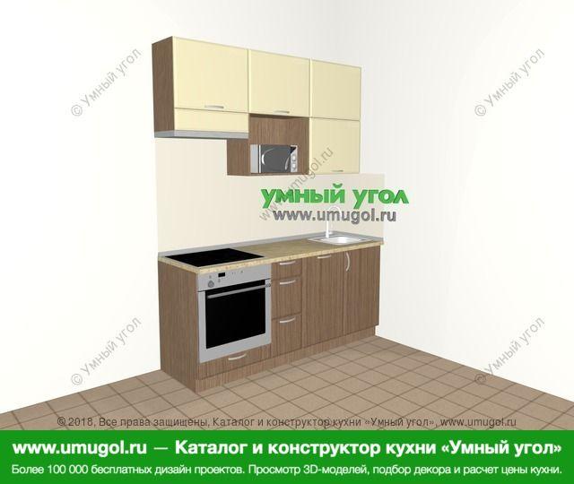 Прямая кухня МДФ матовый 5,0 м², 1800 мм, Ваниль / Лиственница бронзовая: верхние модули 920 мм, встроенный духовой шкаф, посудомоечная машина, верхний витринный модуль под свч