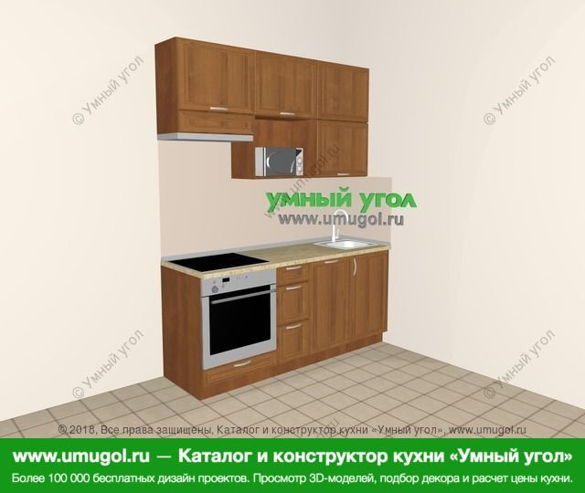 Прямая кухня из рамочного МДФ 5,0 м², 1800 мм, Орех: верхние модули 920 мм, встроенный духовой шкаф, посудомоечная машина, верхний витринный модуль под свч