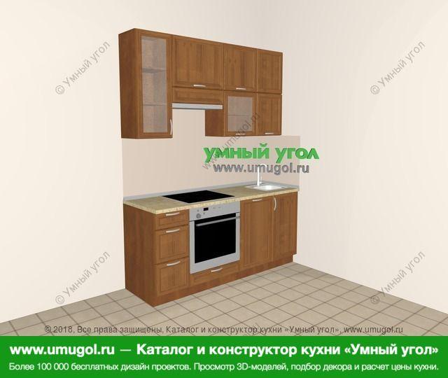 Прямая кухня из рамочного МДФ 5,0 м², 1800 мм, Орех: верхние модули 920 мм, встроенный духовой шкаф, посудомоечная машина