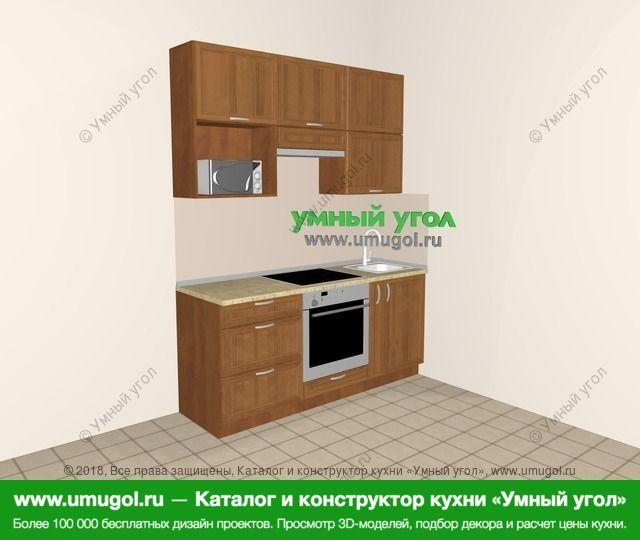 Прямая кухня из рамочного МДФ 5,0 м², 1800 мм, Орех: верхние модули 920 мм, встроенный духовой шкаф, корзина-бутылочница, верхний витринный модуль под свч