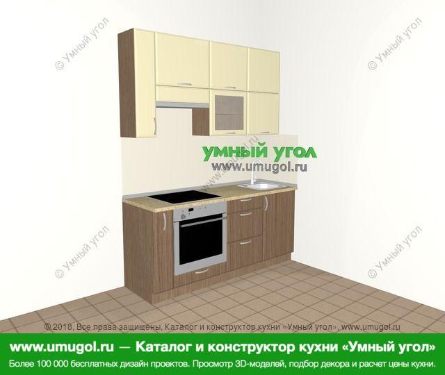 Прямая кухня МДФ матовый 5,0 м², 1800 мм, Ваниль / Лиственница бронзовая: верхние модули 920 мм, корзина-бутылочница, встроенный духовой шкаф