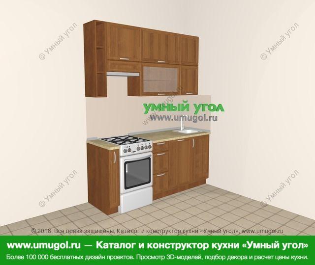 Прямая кухня из рамочного МДФ 5,0 м², 1800 мм, Орех: верхние модули 920 мм, корзина-бутылочница, отдельно стоящая плита, посудомоечная машина