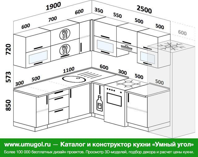 Планировка угловой кухни 7,0 м², 190 на 250 см (зеркальный проект)
