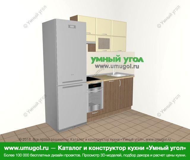 Прямая кухня МДФ матовый 5,0 м², 2000 мм, Ваниль / Лиственница бронзовая: верхние модули 720 мм, холодильник, встроенный духовой шкаф, посудомоечная машина