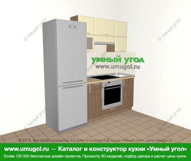 Прямая кухня МДФ матовый 5,0 м², 2000 мм, Ваниль / Лиственница бронзовая: верхние модули 720 мм, холодильник, корзина-бутылочница, встроенный духовой шкаф