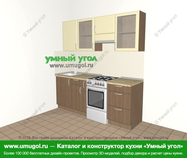 Прямая кухня МДФ матовый 5,0 м², 2000 мм (зеркальный проект), Ваниль / Лиственница бронзовая: верхние модули 720 мм, корзина-бутылочница, отдельно стоящая плита