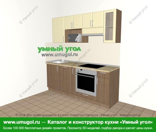Прямая кухня МДФ матовый 5,0 м², 2000 мм (зеркальный проект), Ваниль / Лиственница бронзовая: верхние модули 720 мм, посудомоечная машина, корзина-бутылочница, встроенный духовой шкаф, модуль под свч