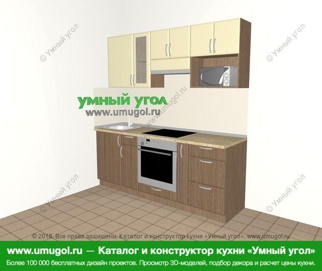 Прямая кухня МДФ матовый 5,0 м², 2000 мм (зеркальный проект), Ваниль / Лиственница бронзовая: верхние модули 720 мм, встроенный духовой шкаф, корзина-бутылочница, модуль под свч