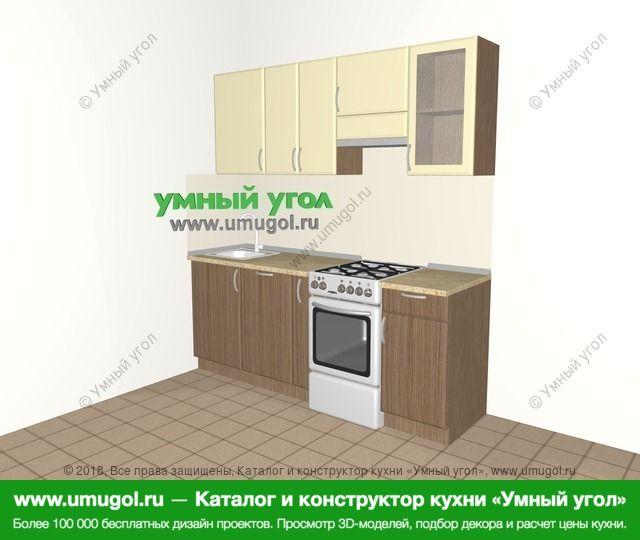 Прямая кухня МДФ матовый 5,0 м², 2000 мм (зеркальный проект), Ваниль / Лиственница бронзовая: верхние модули 720 мм, посудомоечная машина, корзина-бутылочница, отдельно стоящая плита