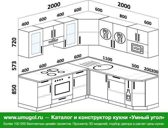 Планировка угловой кухни 5,8 м², 1500 на 1100 мм: верхние модули 720 мм, встроенный духовой шкаф
