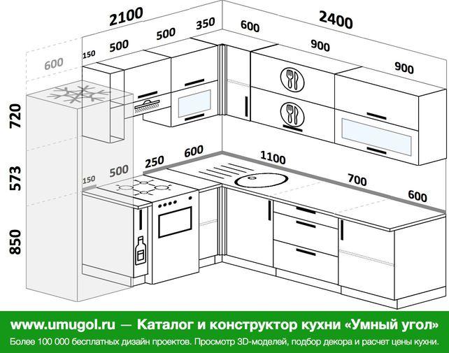 Планировка угловой кухни 6,9 м², 210 на 240 см