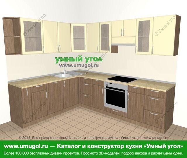 Угловая кухня МДФ матовый 8,1 м², 2100 на 2700 мм (зеркальный проект), Ваниль / Лиственница бронзовая: верхние модули 720 мм, корзина-бутылочница, посудомоечная машина, встроенный духовой шкаф