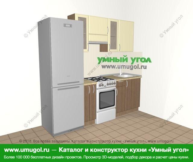 Прямая кухня МДФ матовый 5,0 м², 2200 мм, Ваниль / Лиственница бронзовая: верхние модули 720 мм, холодильник, корзина-бутылочница, отдельно стоящая плита