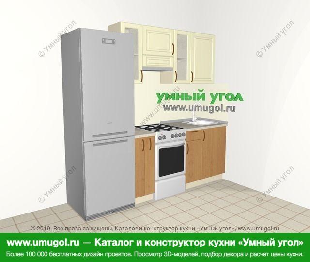 Прямая кухня из МДФ + ЛДСП 5,0 м², 2200 мм, Ваниль / Ольха: верхние модули 720 мм, холодильник, корзина-бутылочница, отдельно стоящая плита