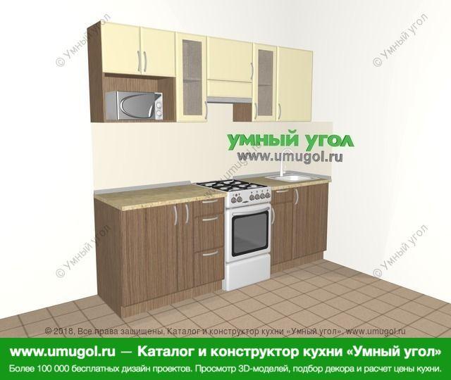 Прямая кухня МДФ матовый 5,0 м², 2200 мм, Ваниль / Лиственница бронзовая: верхние модули 720 мм, корзина-бутылочница, отдельно стоящая плита, модуль под свч