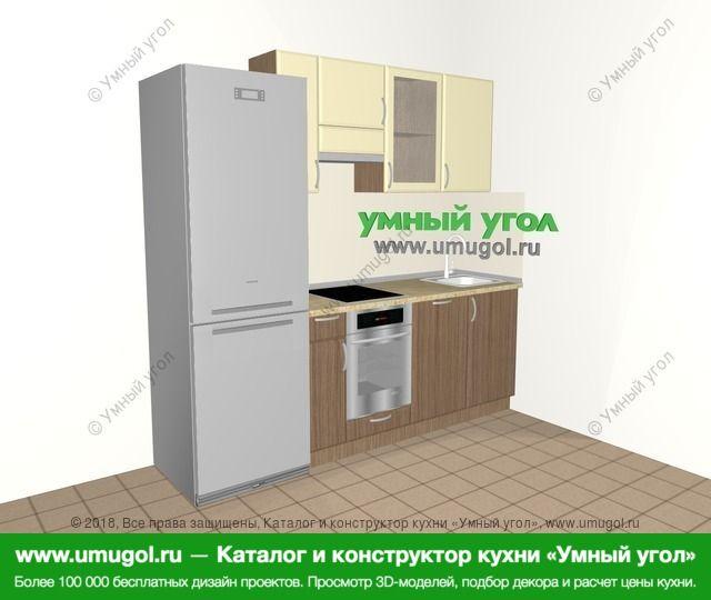 Прямая кухня МДФ матовый 5,0 м², 2200 мм, Ваниль / Лиственница бронзовая: верхние модули 720 мм, холодильник, встроенный духовой шкаф, посудомоечная машина