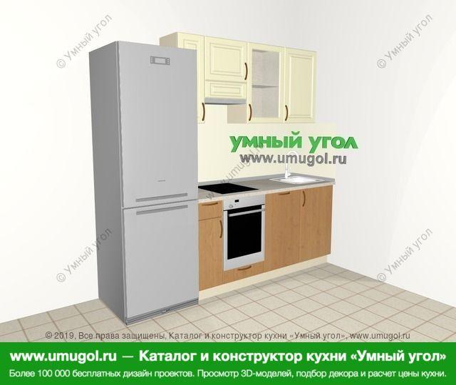Прямая кухня из МДФ + ЛДСП 5,0 м², 2200 мм, Ваниль / Ольха: верхние модули 720 мм, холодильник, встроенный духовой шкаф, посудомоечная машина