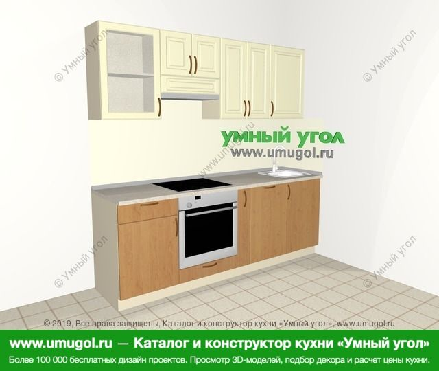 Прямая кухня из МДФ + ЛДСП 5,0 м², 2200 мм, Ваниль / Ольха: верхние модули 720 мм, встроенный духовой шкаф, корзина-бутылочница, посудомоечная машина