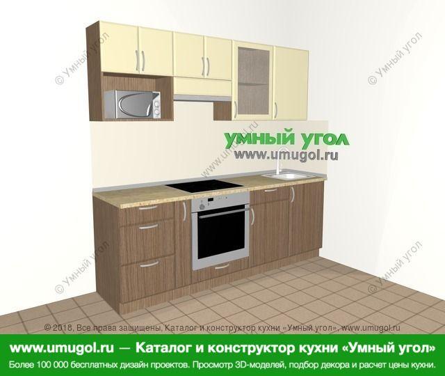 Прямая кухня МДФ матовый 5,0 м², 2200 мм, Ваниль / Лиственница бронзовая: верхние модули 720 мм, корзина-бутылочница, встроенный духовой шкаф, модуль под свч