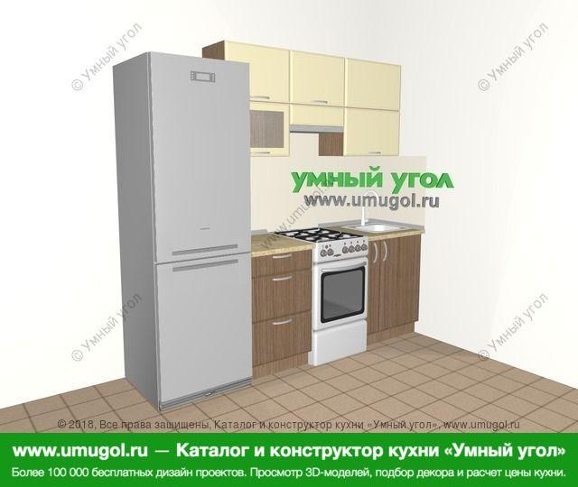 Прямая кухня МДФ матовый 5,0 м², 2200 мм, Ваниль / Лиственница бронзовая: верхние модули 720 мм, холодильник, отдельно стоящая плита, корзина-бутылочница