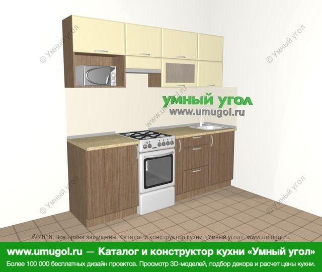 Прямая кухня МДФ матовый 5,0 м², 2200 мм, Ваниль / Лиственница бронзовая: верхние модули 720 мм, отдельно стоящая плита, корзина-бутылочница, верхний витринный модуль под свч