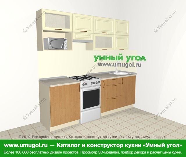 Прямая кухня из МДФ + ЛДСП 5,0 м², 2200 мм, Ваниль / Ольха: верхние модули 720 мм, отдельно стоящая плита, корзина-бутылочница, верхний витринный модуль под свч