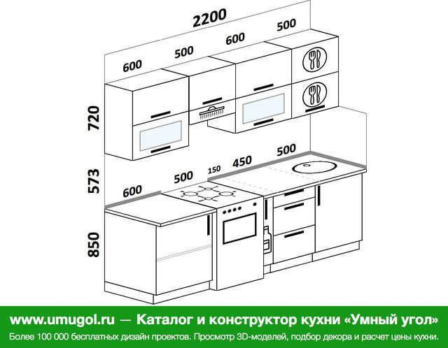 Планировка прямой кухни 5,0 м², 2200 мм