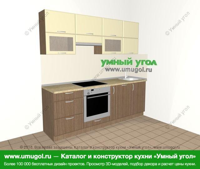Прямая кухня МДФ матовый 5,0 м², 2200 мм, Ваниль / Лиственница бронзовая: верхние модули 720 мм, встроенный духовой шкаф, корзина-бутылочница, посудомоечная машина