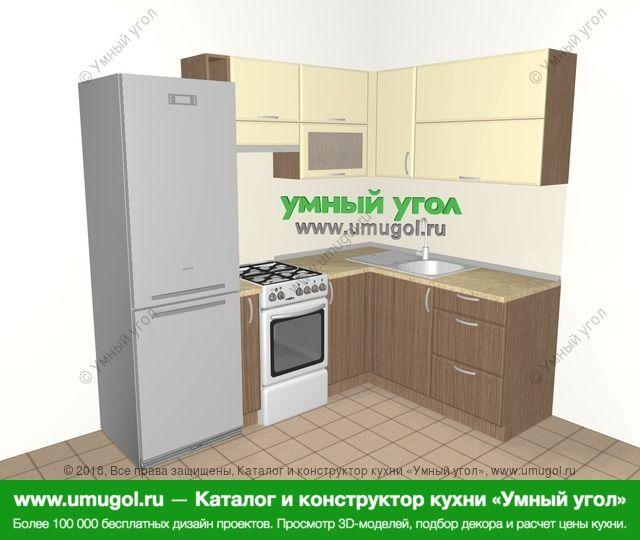 Угловая кухня МДФ матовый 5,5 м², 2200 на 1600 мм, Ваниль / Лиственница бронзовая: верхние модули 720 мм, холодильник, корзина-бутылочница, отдельно стоящая плита