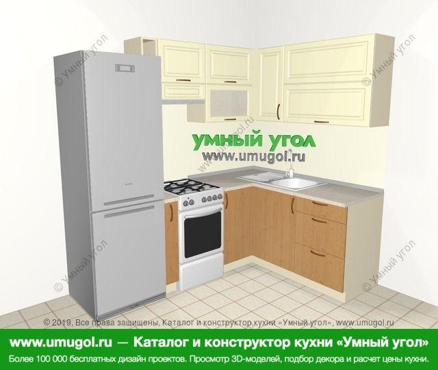 Угловая кухня из МДФ + ЛДСП 5,5 м², 2200 на 1600 мм, Ваниль / Ольха: верхние модули 720 мм, холодильник, корзина-бутылочница, отдельно стоящая плита