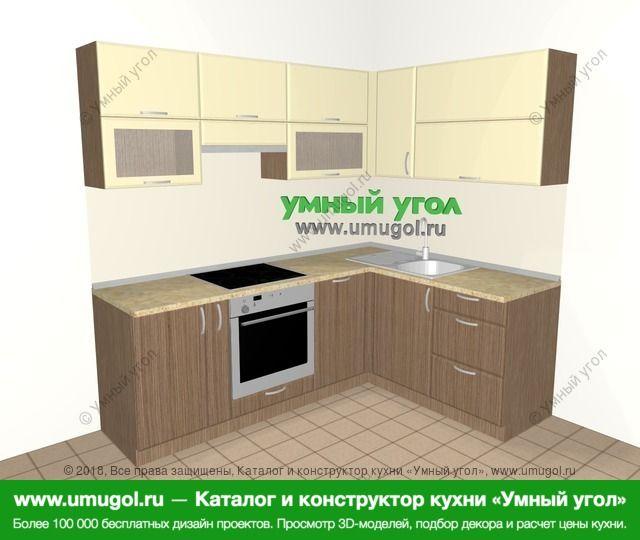 Угловая кухня МДФ матовый 5,5 м², 2200 на 1600 мм, Ваниль / Лиственница бронзовая: верхние модули 720 мм, корзина-бутылочница, встроенный духовой шкаф, посудомоечная машина