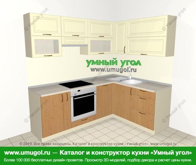 Угловая кухня из МДФ + ЛДСП 5,5 м², 2200 на 1600 мм, Ваниль / Ольха: верхние модули 720 мм, корзина-бутылочница, встроенный духовой шкаф, посудомоечная машина