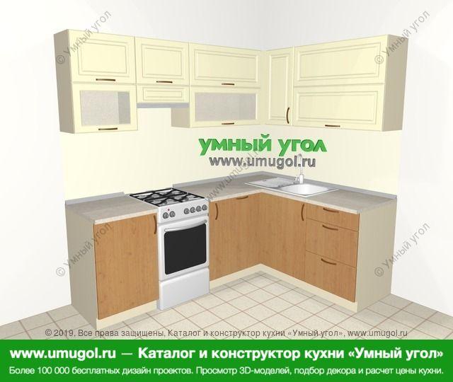Угловая кухня из МДФ + ЛДСП 5,5 м², 2200 на 1600 мм, Ваниль / Ольха: верхние модули 720 мм, отдельно стоящая плита, корзина-бутылочница, посудомоечная машина