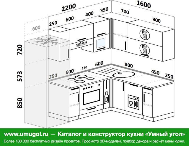 Планировка угловой кухни 5,5 м², 2200 на 1600 мм