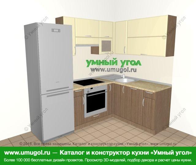 Угловая кухня МДФ матовый 5,5 м², 2200 на 1600 мм, Ваниль / Лиственница бронзовая: верхние модули 720 мм, холодильник, встроенный духовой шкаф, корзина-бутылочница, посудомоечная машина