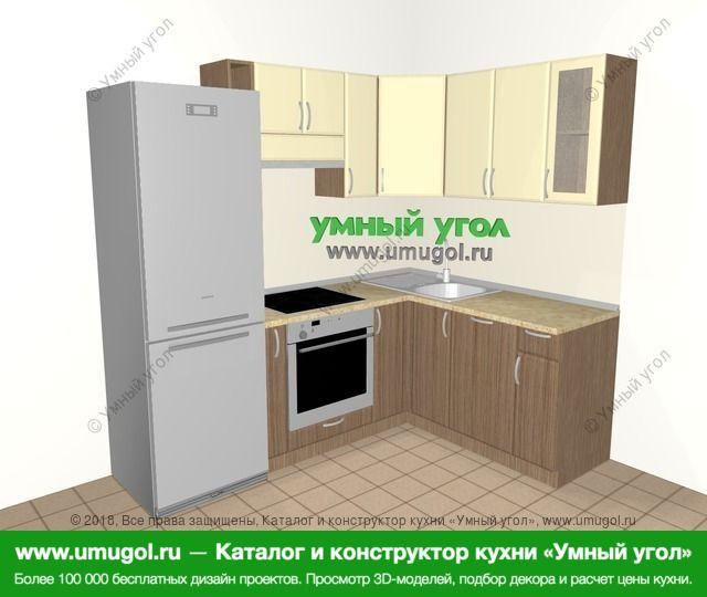 Угловая кухня МДФ матовый 5,5 м², 2200 на 1600 мм, Ваниль / Лиственница бронзовая: верхние модули 720 мм, холодильник, корзина-бутылочница, встроенный духовой шкаф, посудомоечная машина