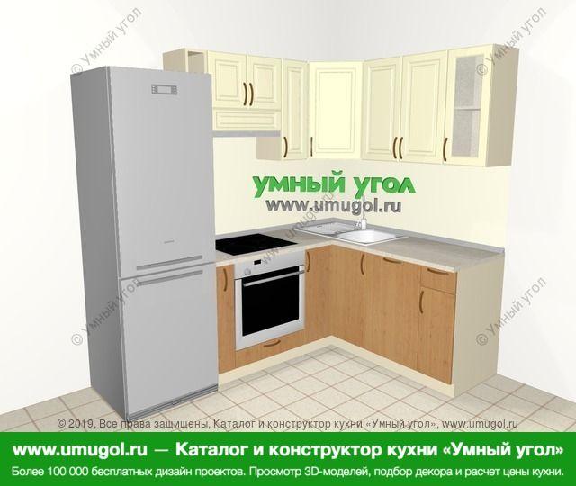 Угловая кухня из МДФ + ЛДСП 5,5 м², 2200 на 1600 мм, Ваниль / Ольха: верхние модули 720 мм, холодильник, корзина-бутылочница, встроенный духовой шкаф, посудомоечная машина